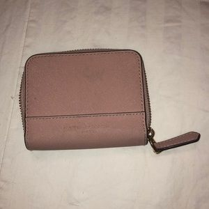 Blush colored wallet with zipper